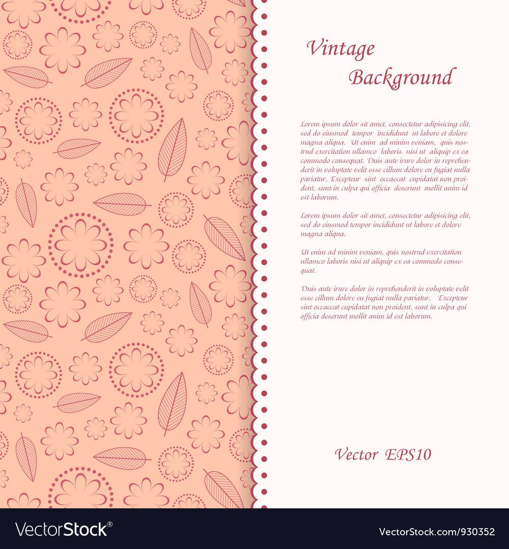 Floral vintage background vector | Price: 1 Credit (USD $1)