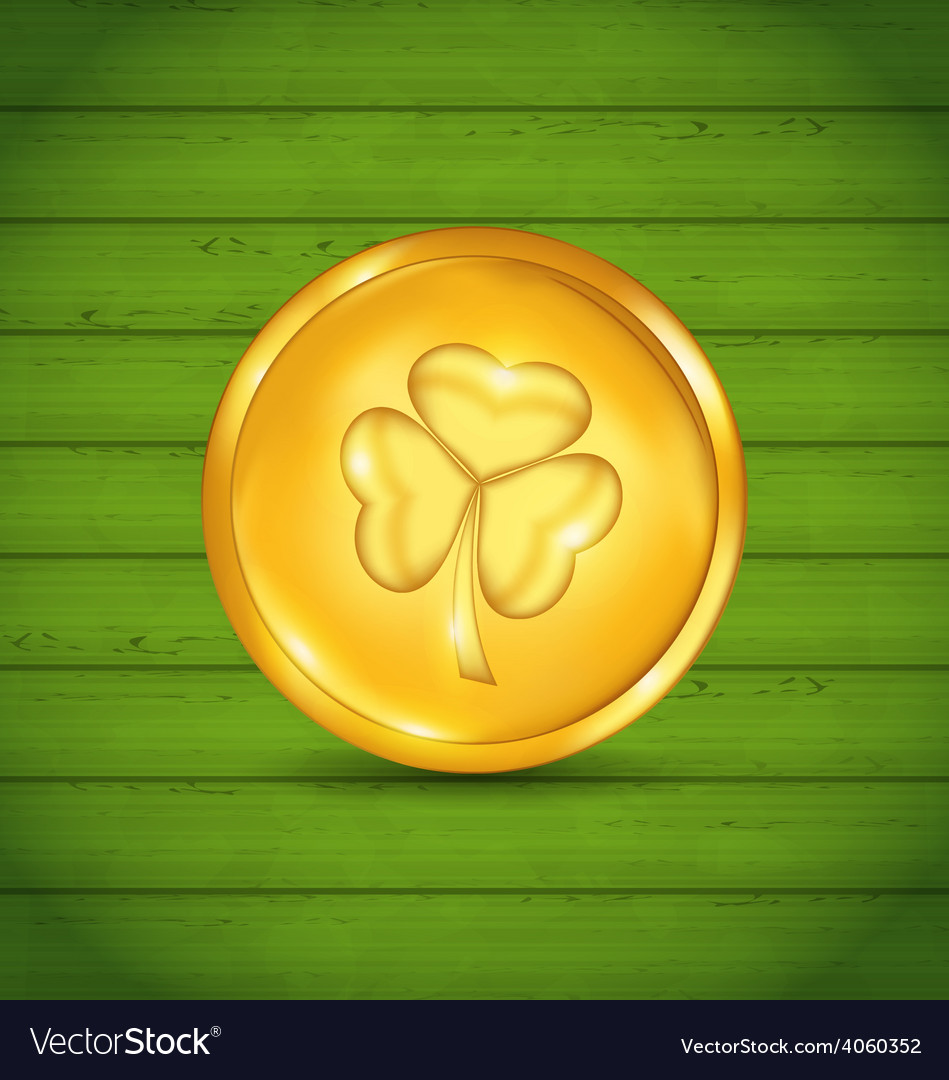 Golden coin with clover on green wooden texture vector | Price: 1 Credit (USD $1)