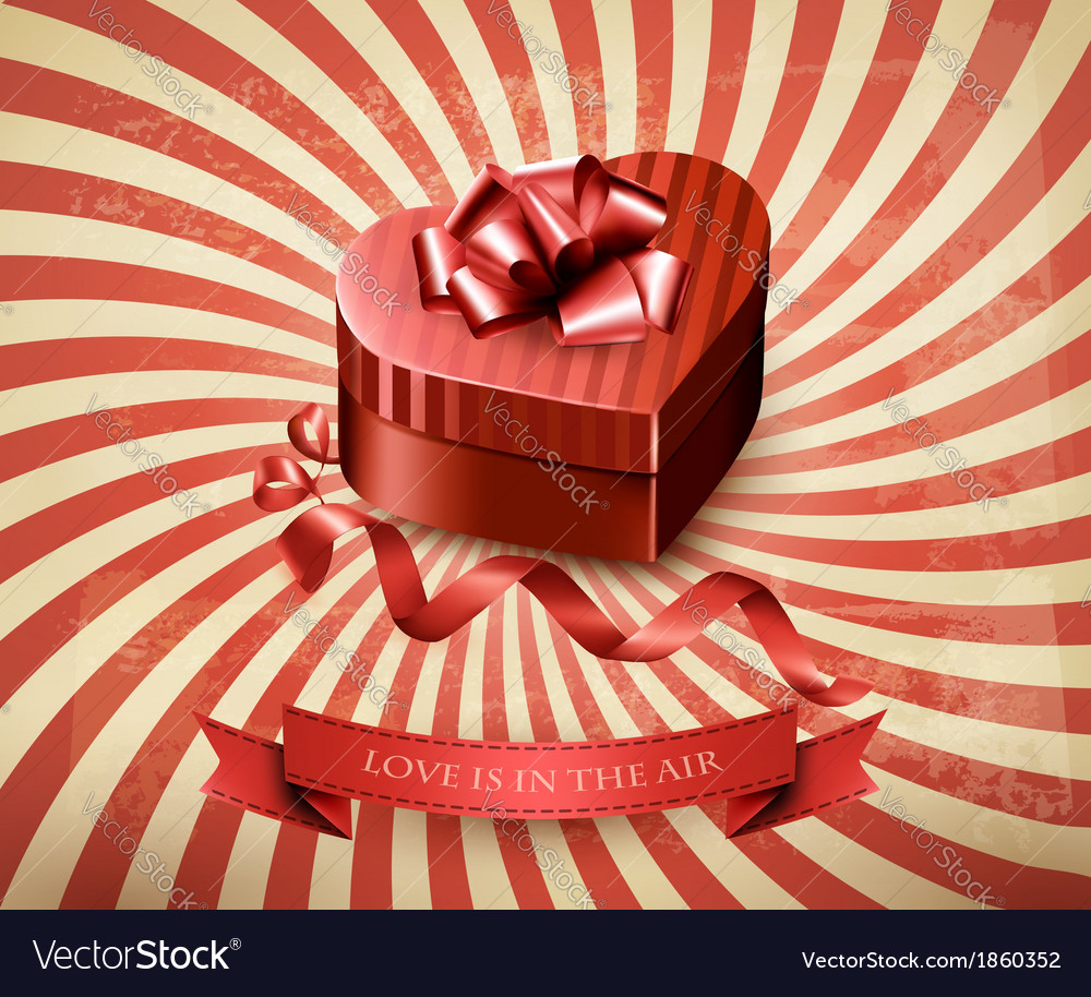 Heart-shaped gift box on retro background vector | Price: 3 Credit (USD $3)