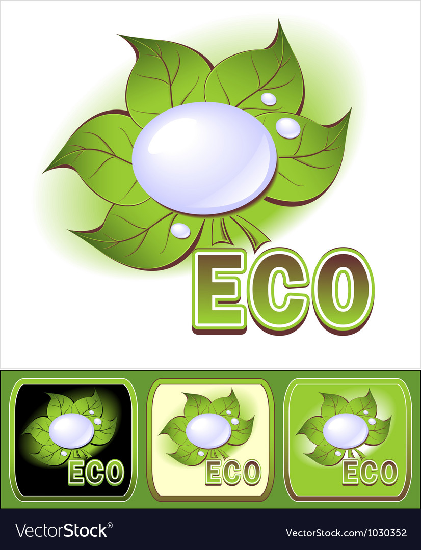 Set ecologic icons with leaves and water droplets vector | Price: 1 Credit (USD $1)