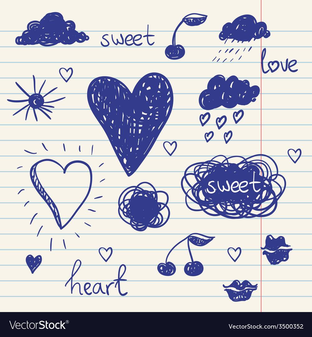 Set of chalk doodles cloud hearts laurel wreath vector   Price: 1 Credit (USD $1)