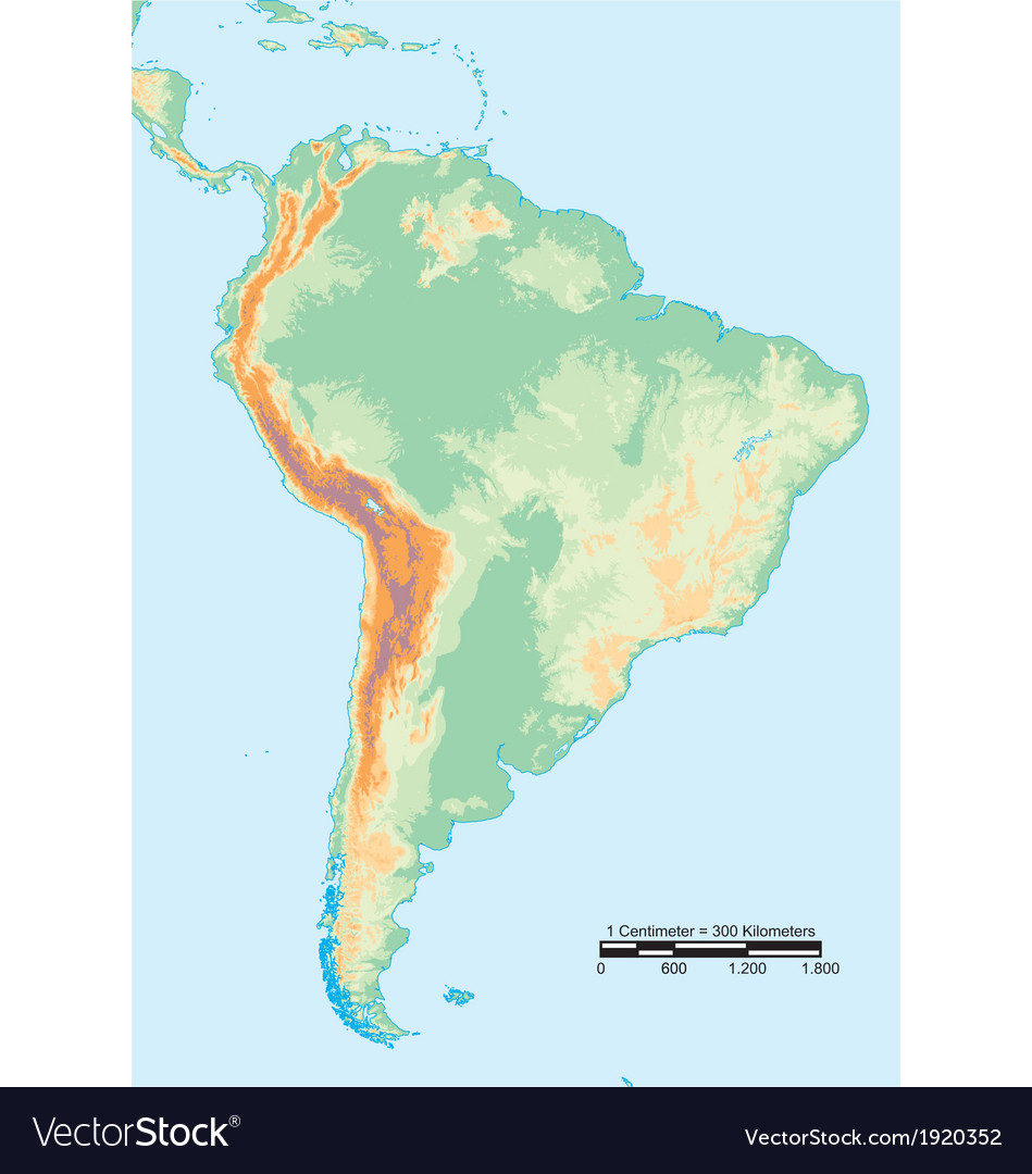 South america physical vector | Price: 1 Credit (USD $1)
