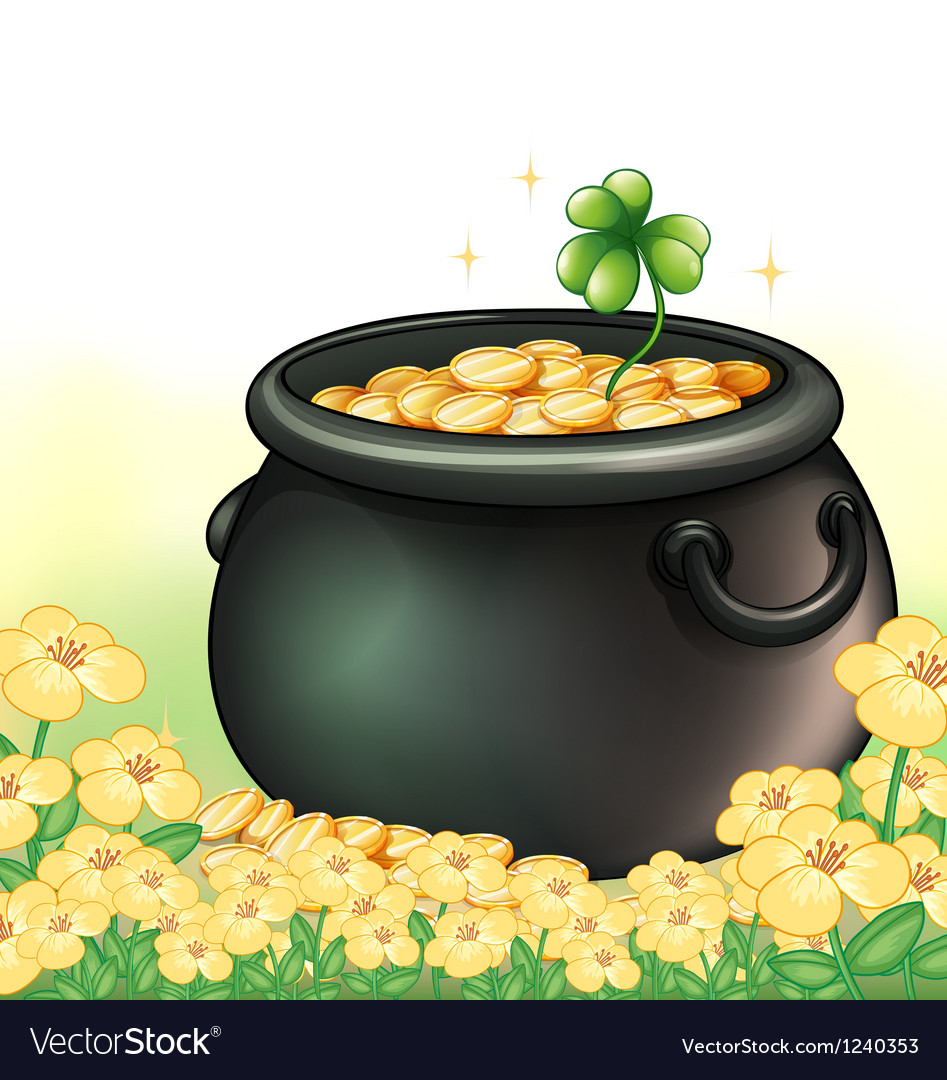 A pot of gold in the garden vector | Price: 1 Credit (USD $1)