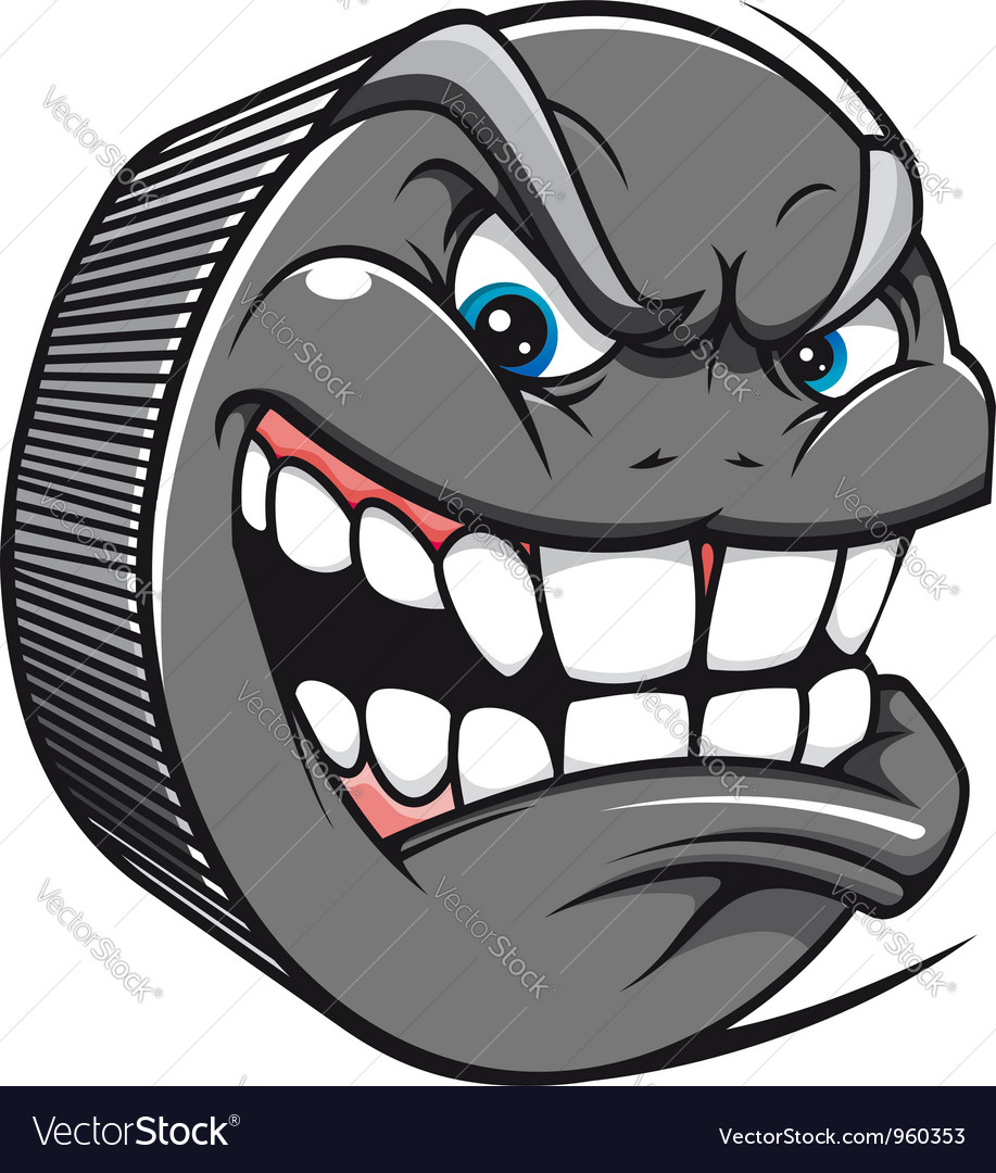 Angry hockey puck mascot vector | Price: 1 Credit (USD $1)