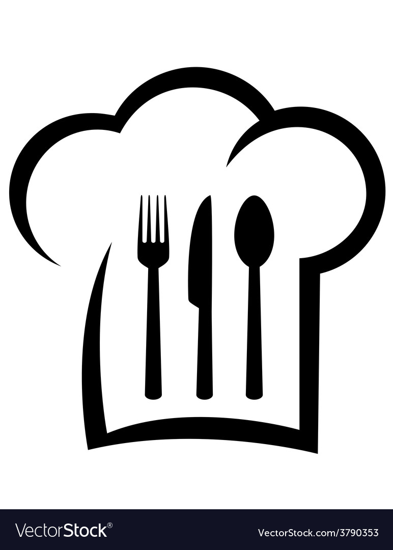Black restaurant icon with chef hat vector | Price: 1 Credit (USD $1)