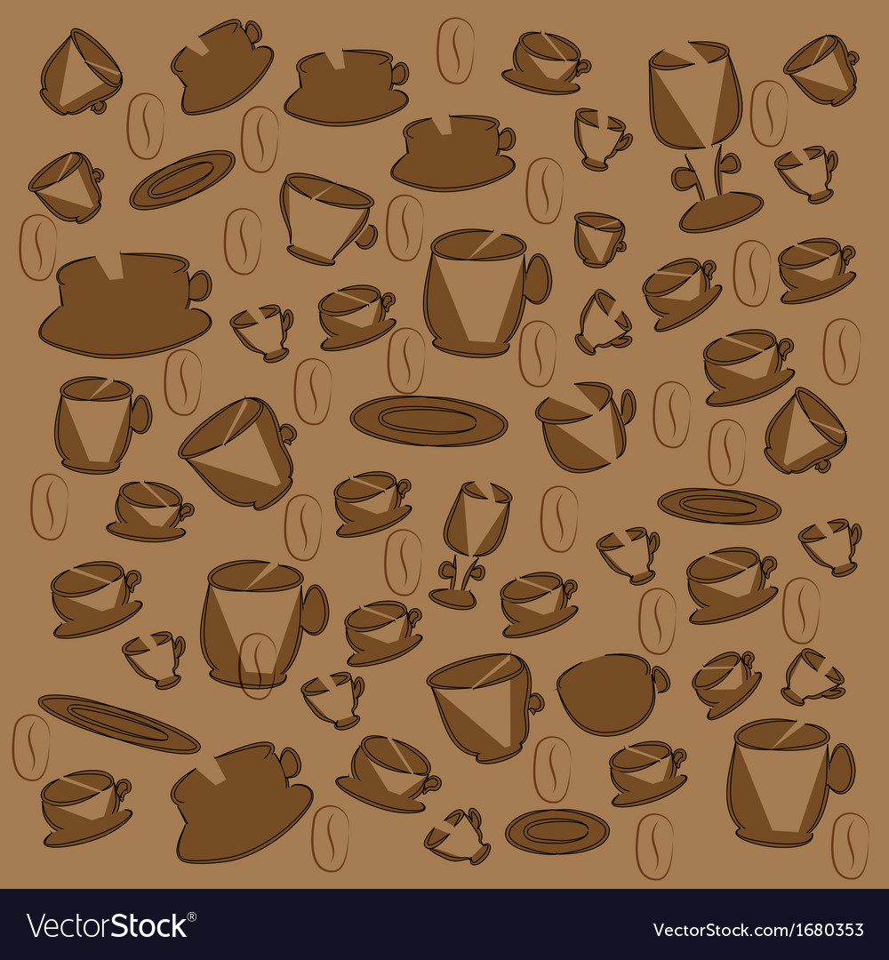 Cup and saucer with coffee beans vector | Price: 1 Credit (USD $1)