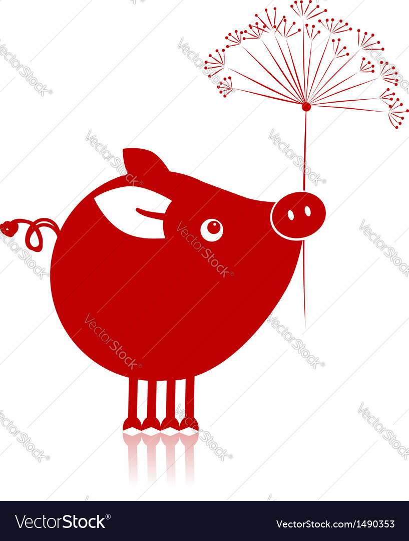 Cute piggy with flower for your design vector | Price: 1 Credit (USD $1)