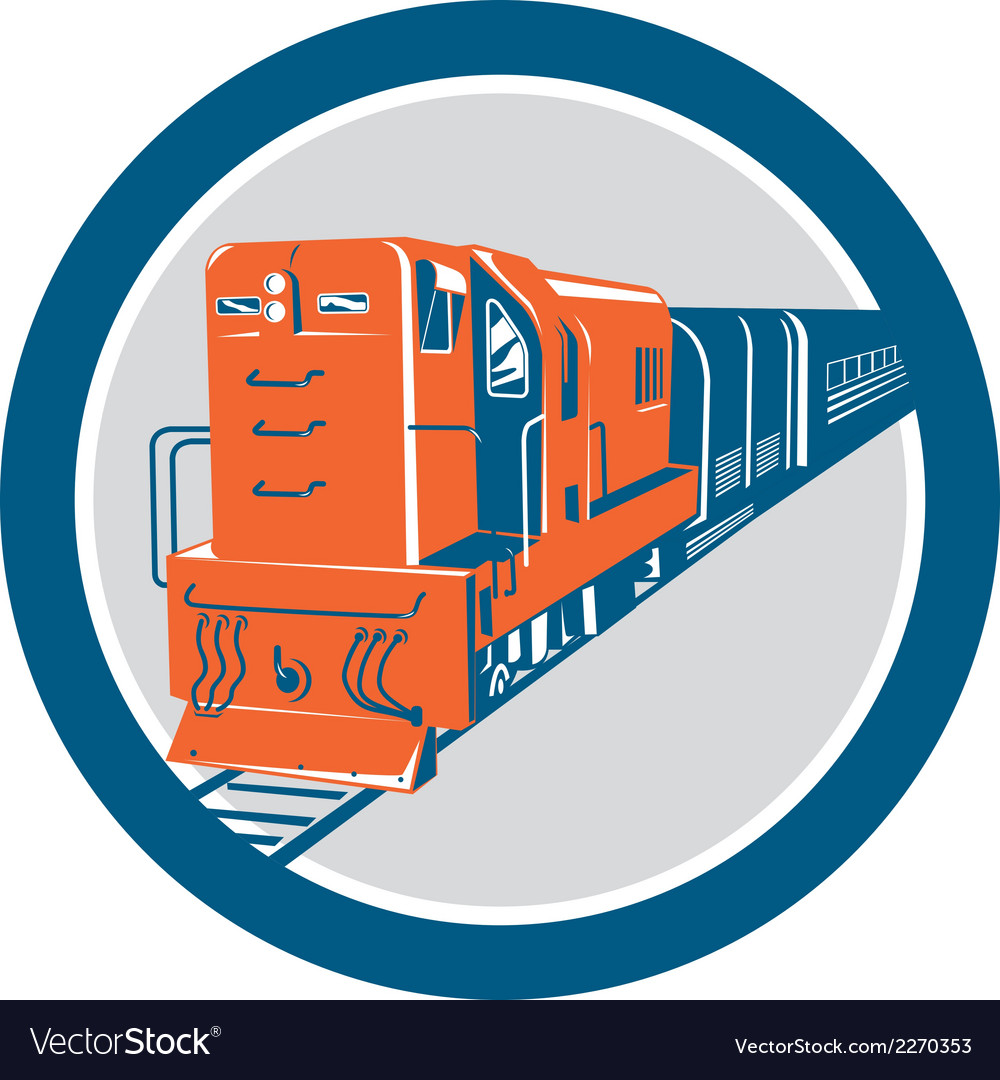 Diesel train circle retro vector | Price: 1 Credit (USD $1)