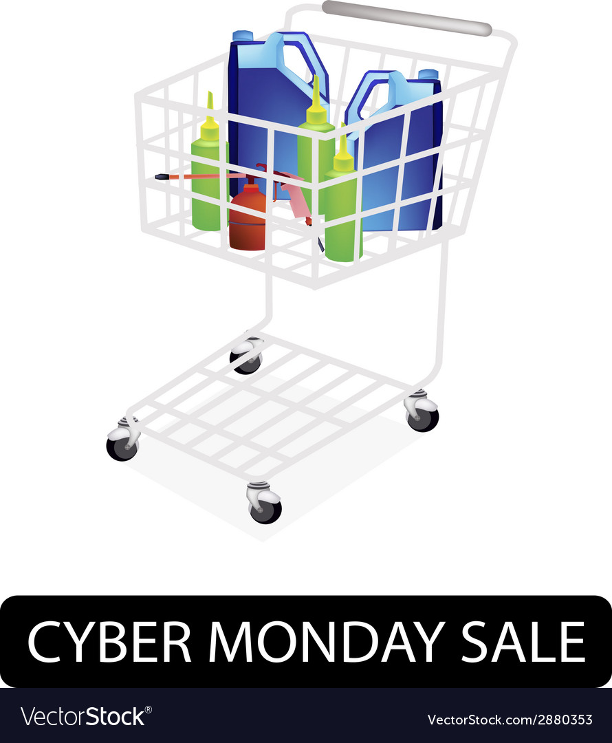 Engine oil packaging in cyber monday shopping cart vector | Price: 1 Credit (USD $1)