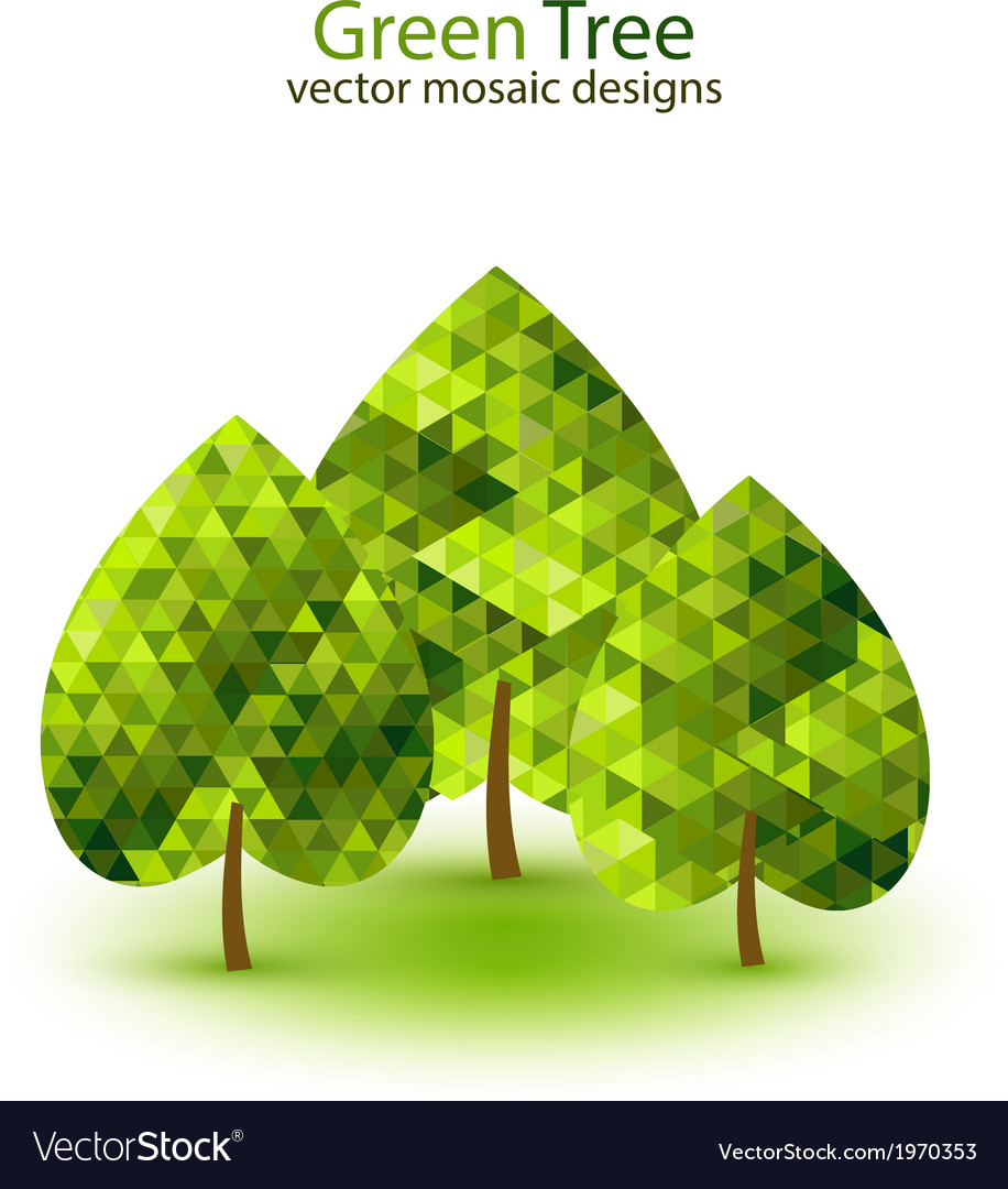 Green mosaic tree ecology design vector | Price: 1 Credit (USD $1)
