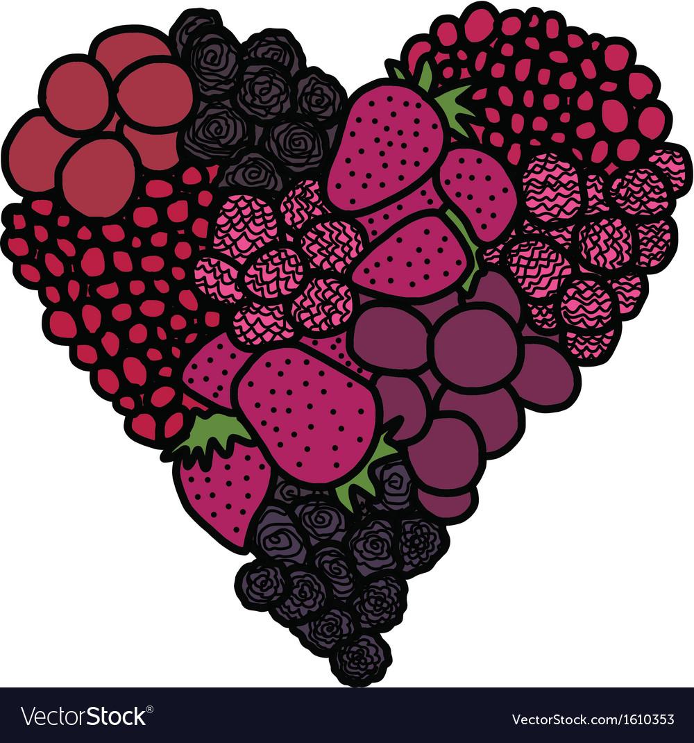 Heart of berries vector   Price: 1 Credit (USD $1)