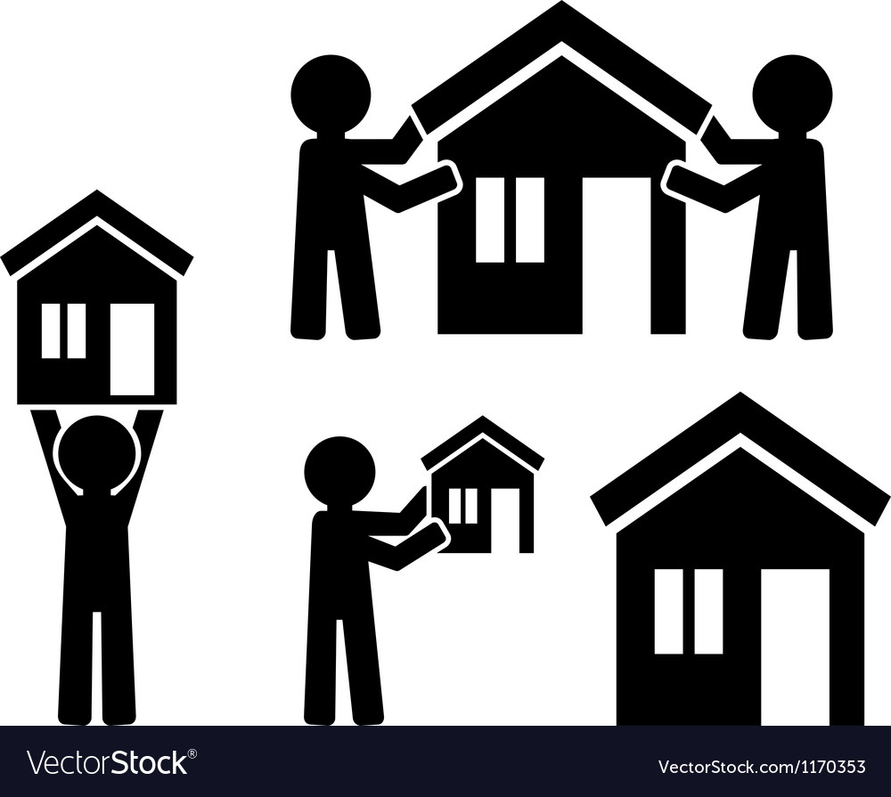 Icons building of house with figures of people vector | Price: 1 Credit (USD $1)