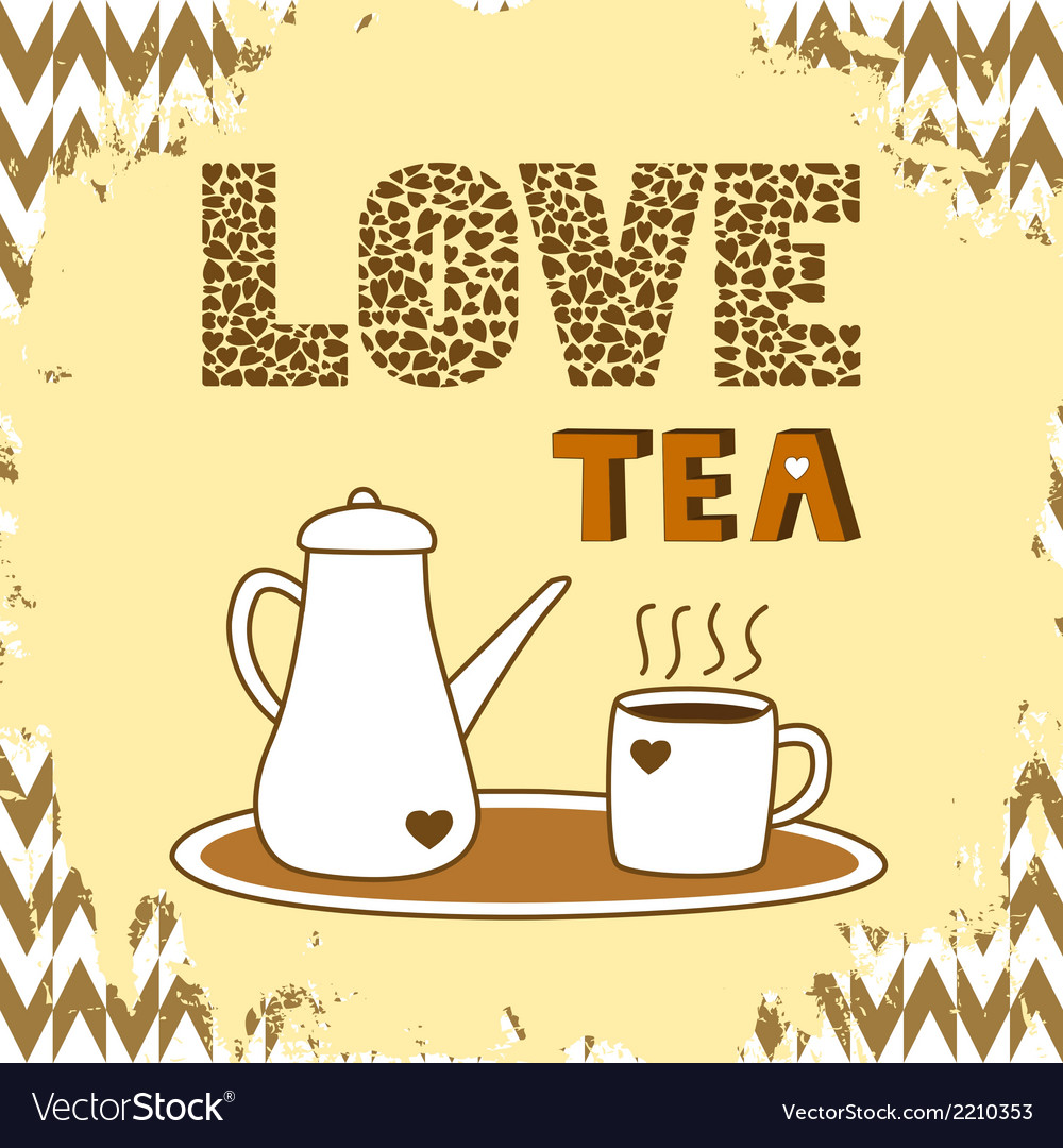 Love tea card3 vector | Price: 1 Credit (USD $1)