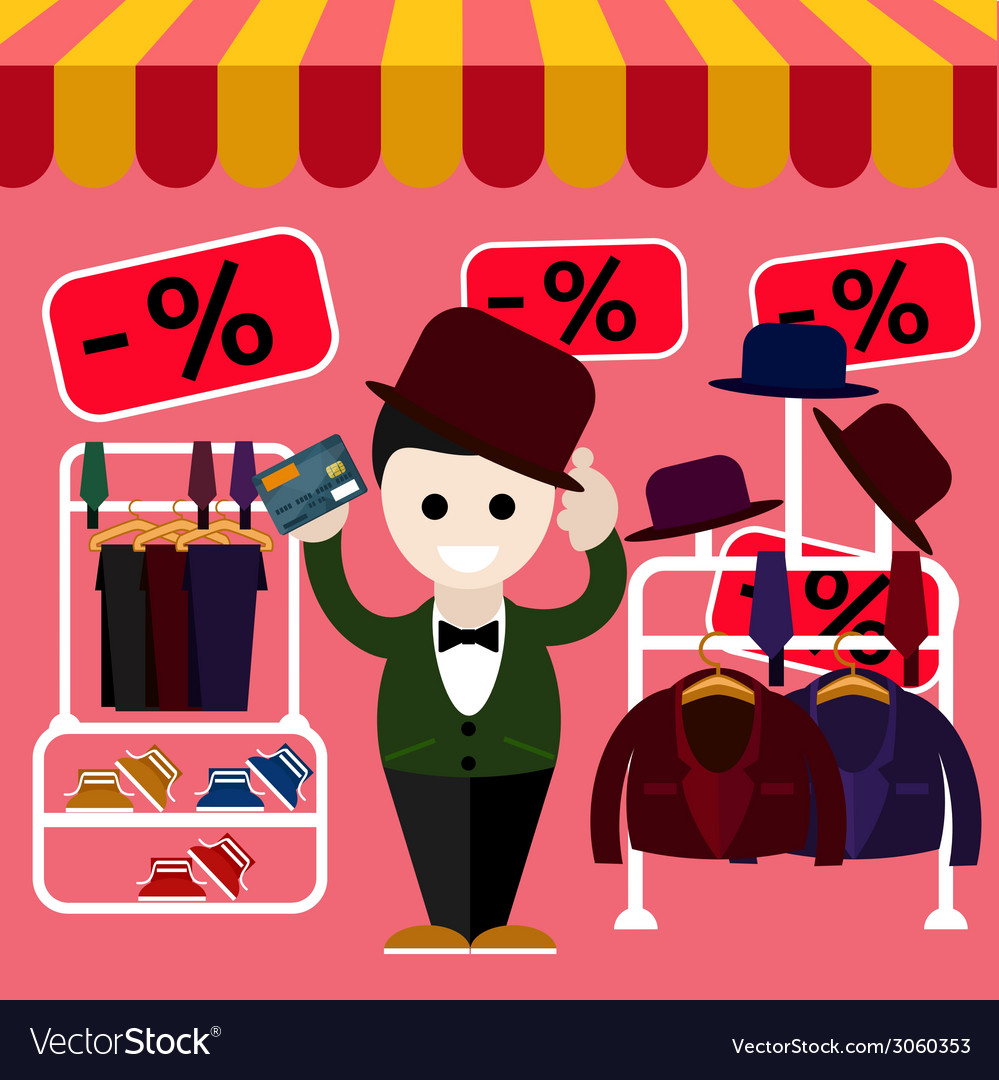 Man chooses perfect clothes and a hat in the store vector | Price: 1 Credit (USD $1)