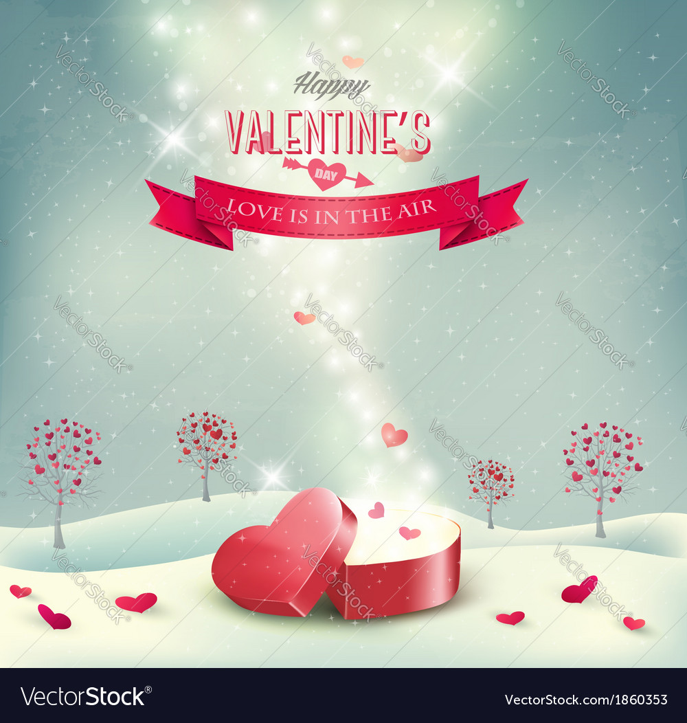 Valentines day background with an open red gift vector | Price: 3 Credit (USD $3)