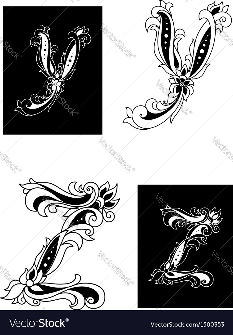 Y and z letters in retro floral style vector | Price: 1 Credit (USD $1)