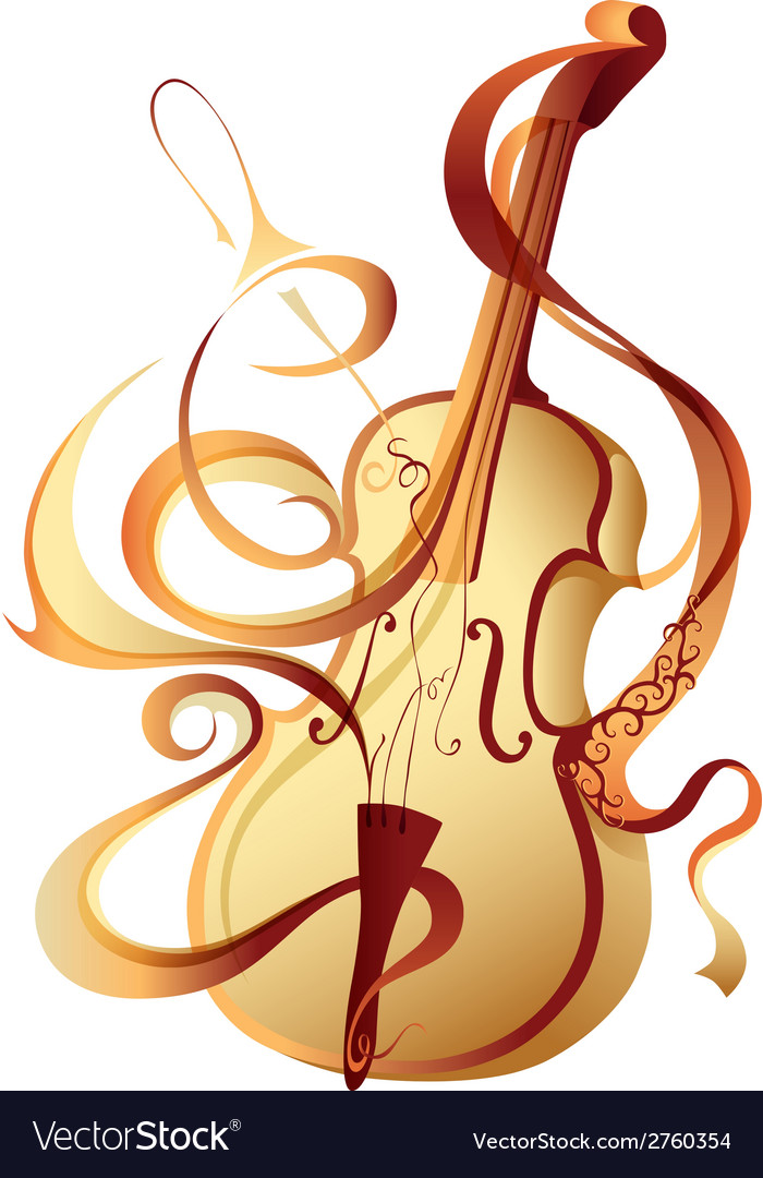 Abstract musical instrument gold violin vector | Price: 1 Credit (USD $1)