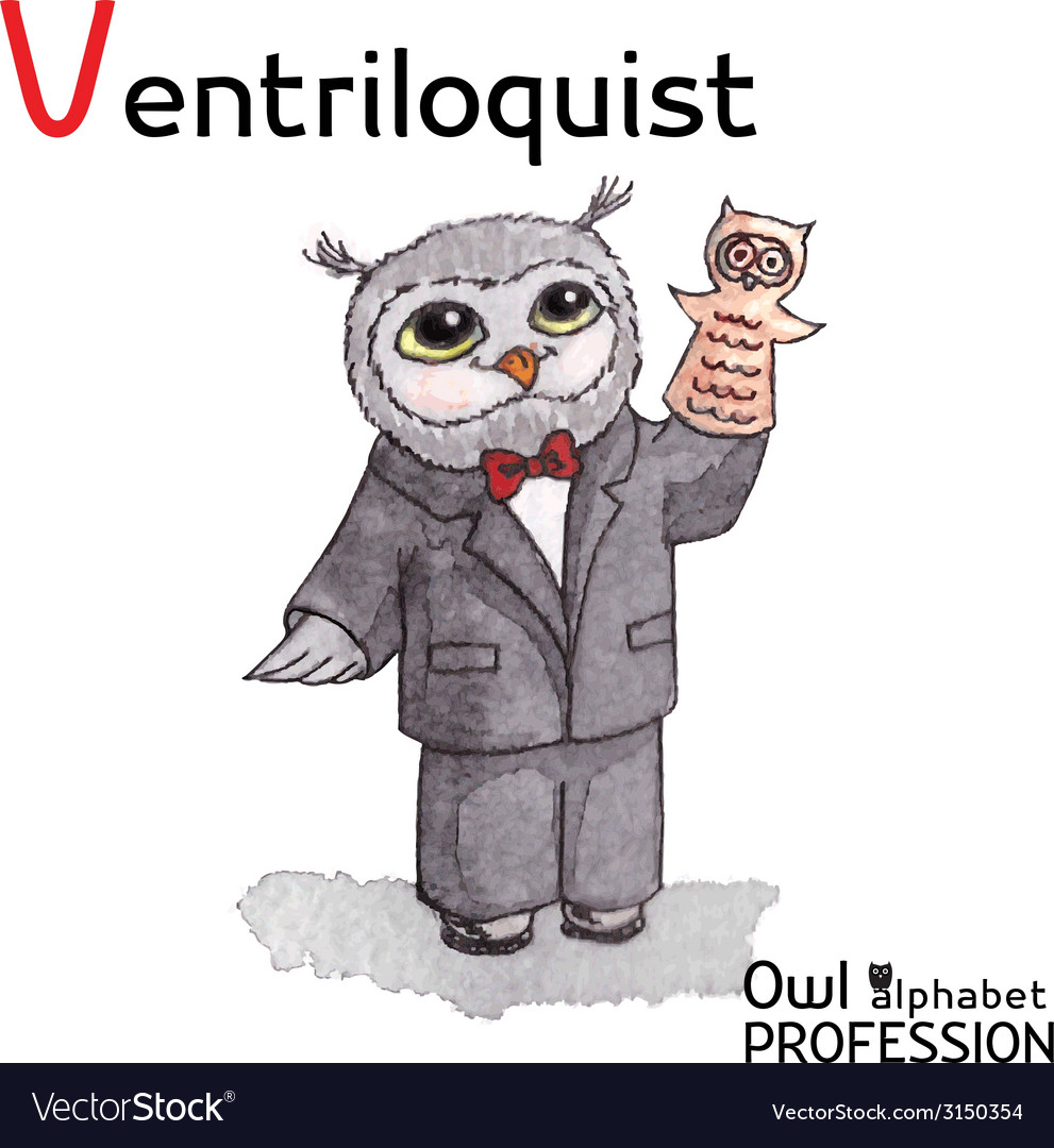 Alphabet professions owl letter v - ventriloquist vector | Price: 1 Credit (USD $1)