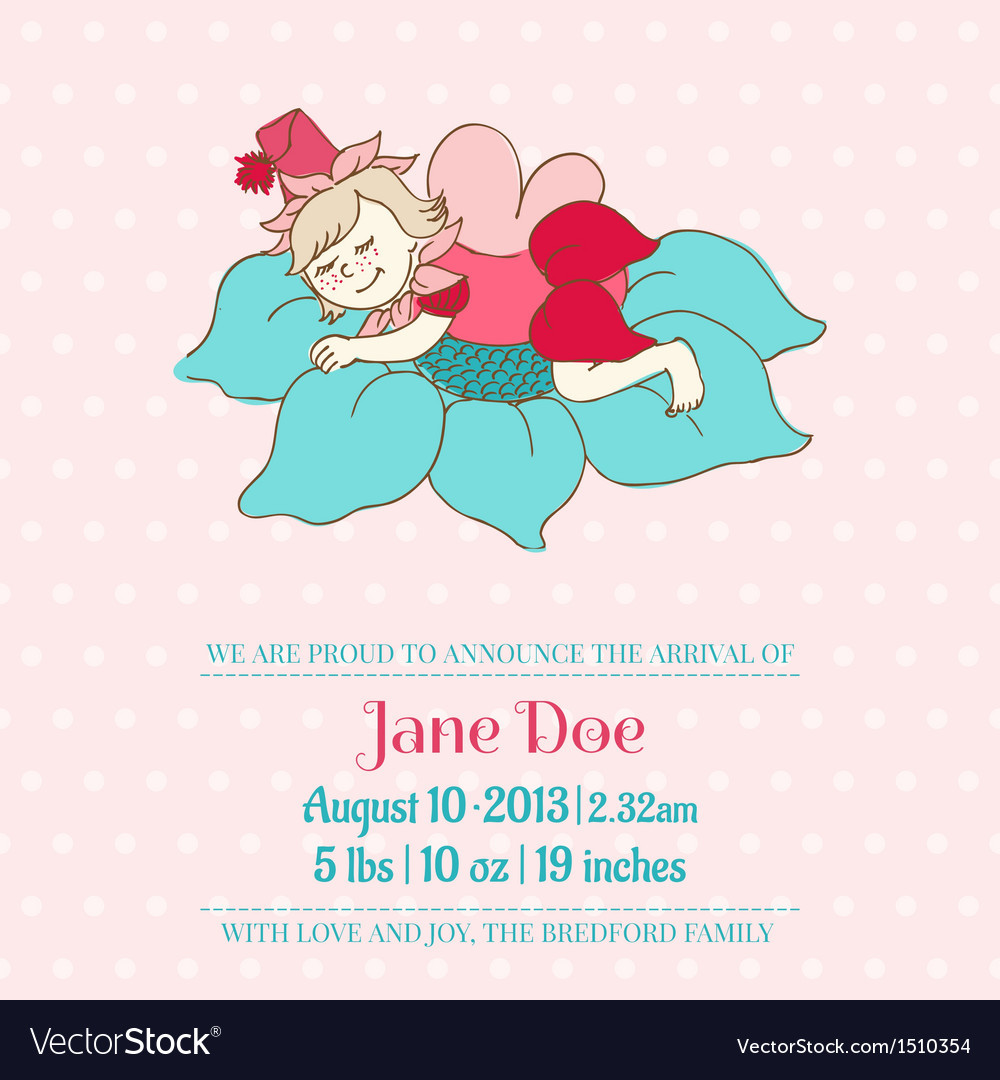 Baby arrival or shower card - with sleeping fairy vector | Price: 1 Credit (USD $1)