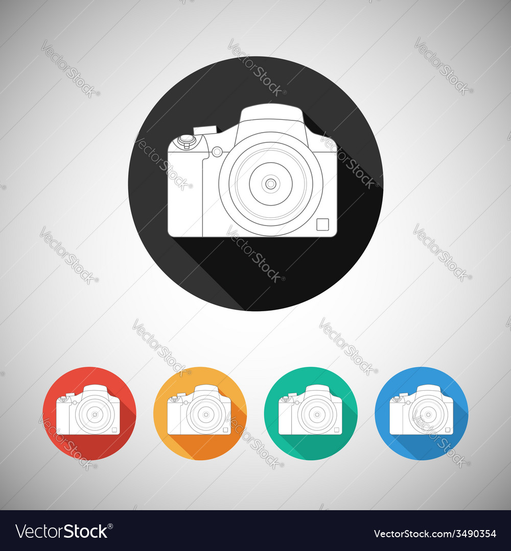 Camera icon on round background with long shadow vector   Price: 1 Credit (USD $1)
