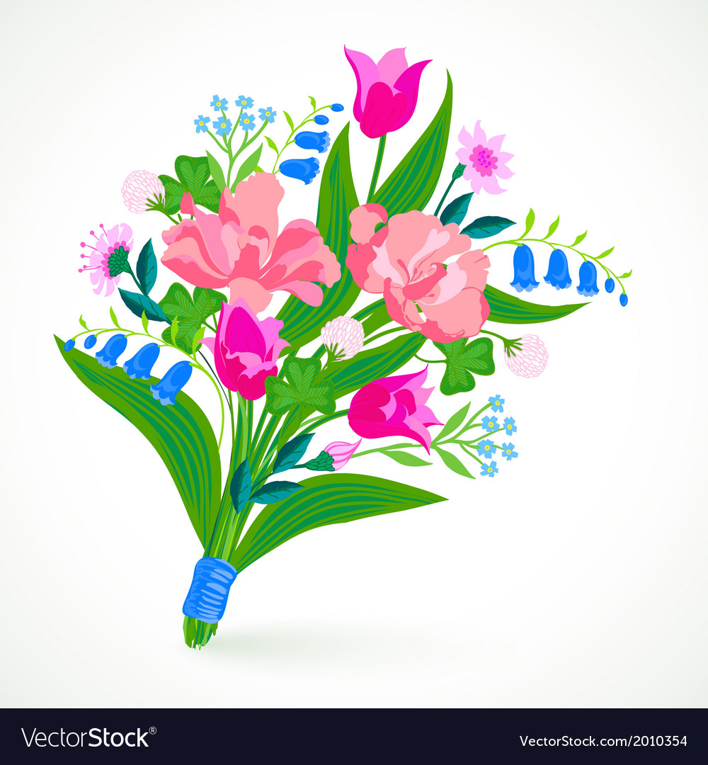 Card with bouquet of spring and summer flowers vector | Price: 1 Credit (USD $1)