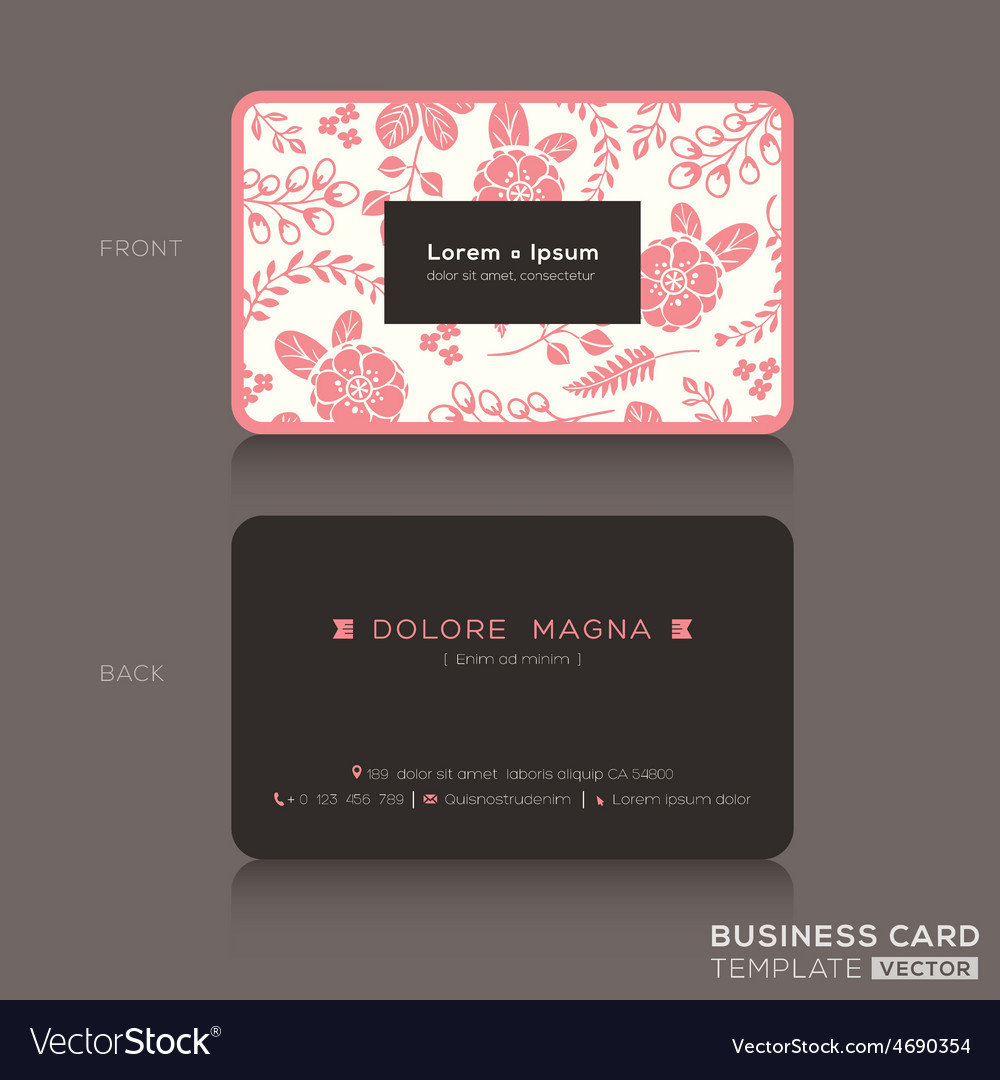 Cute business card pink floral pattern background vector | Price: 1 Credit (USD $1)