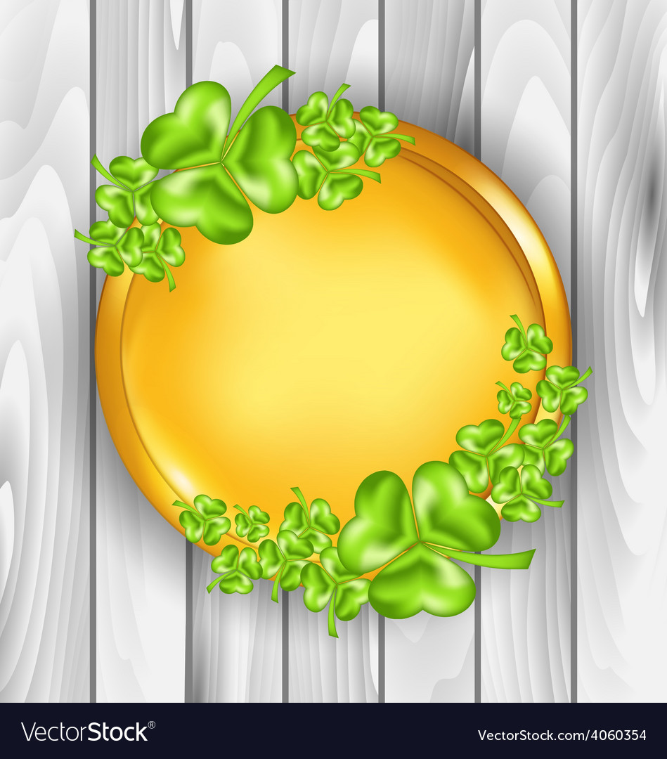 Golden coin with shamrocks st patricks day symbol vector | Price: 1 Credit (USD $1)