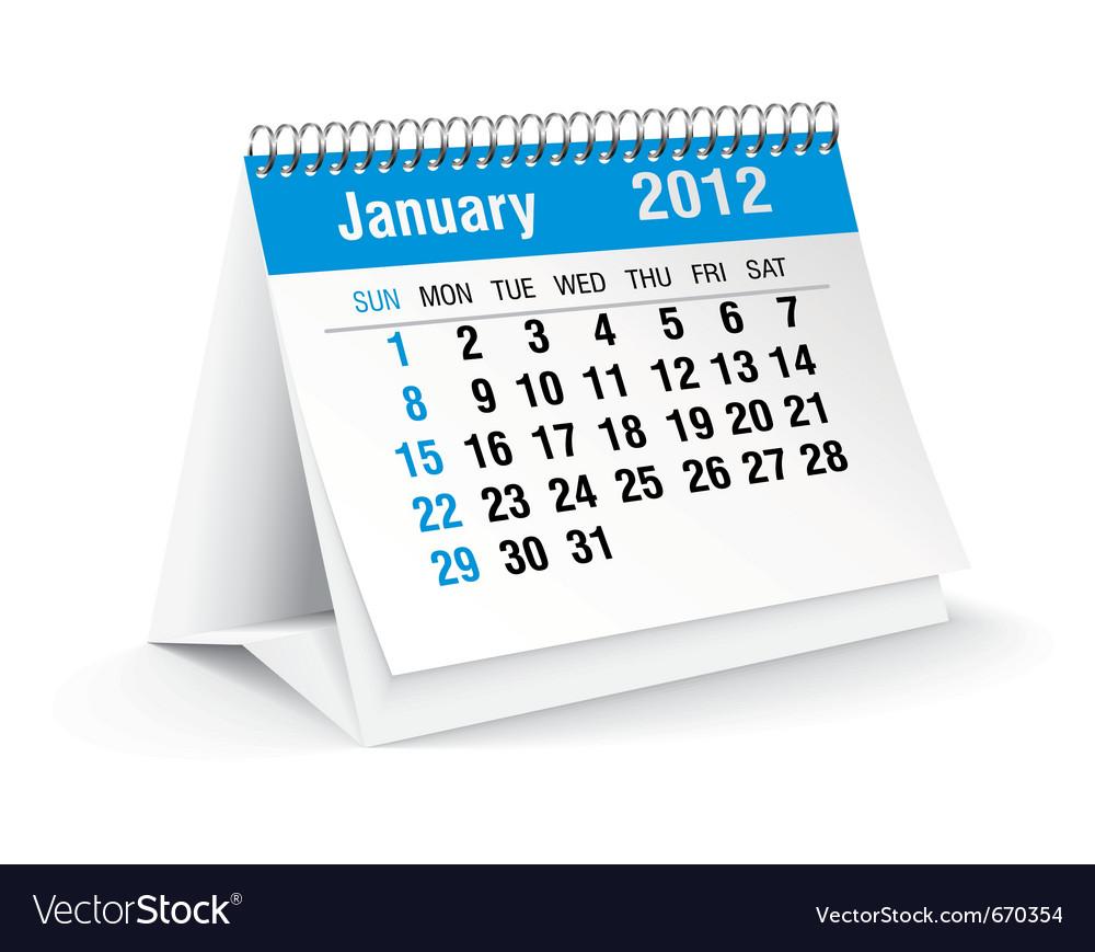 January calendar vector | Price: 1 Credit (USD $1)