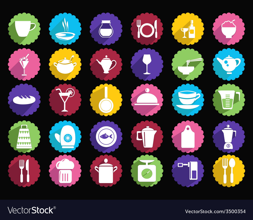 Kitchen set of tableware icons vector | Price: 1 Credit (USD $1)