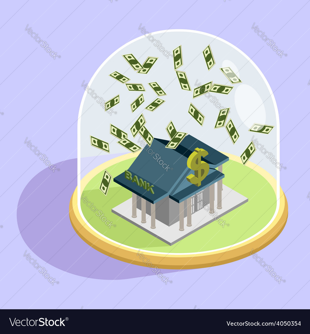 Protection of bank bank isometric building vector | Price: 1 Credit (USD $1)