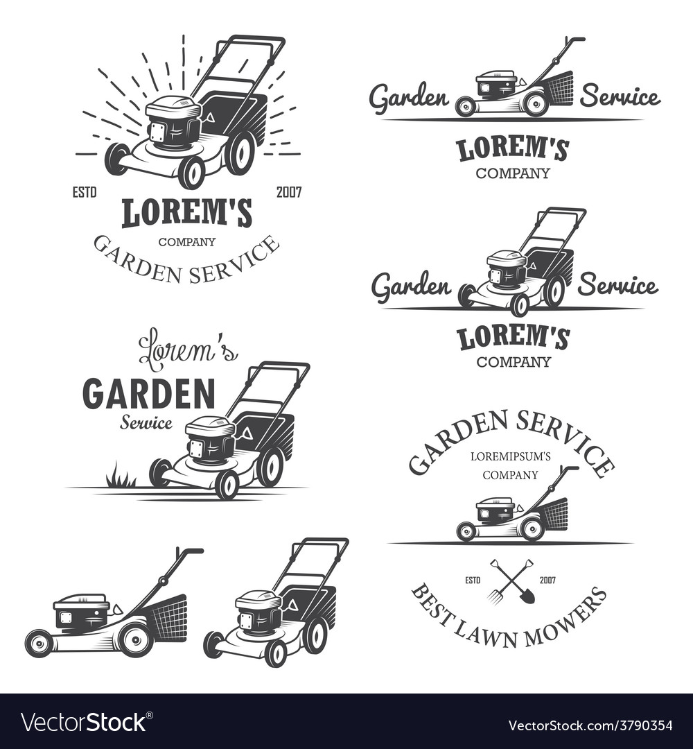 Set of vintage garden service emblems vector | Price: 1 Credit (USD $1)