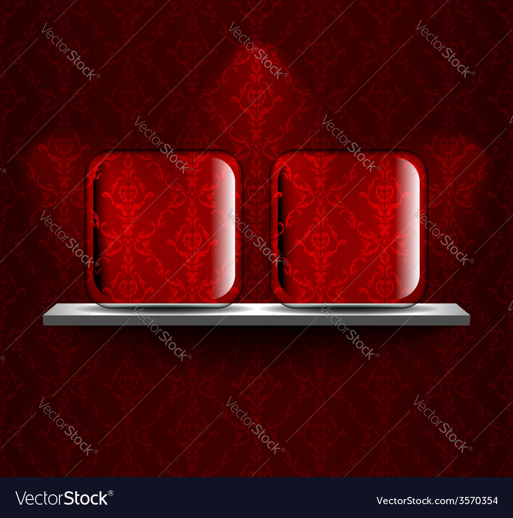 Shelf with two glass placeholders vector | Price: 1 Credit (USD $1)