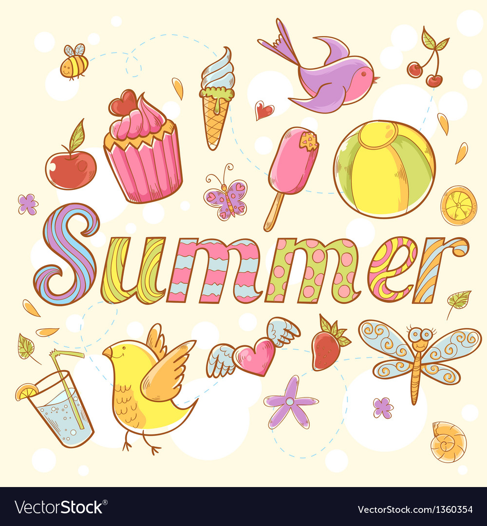 Summer colorful doodle greeting card vector | Price: 3 Credit (USD $3)