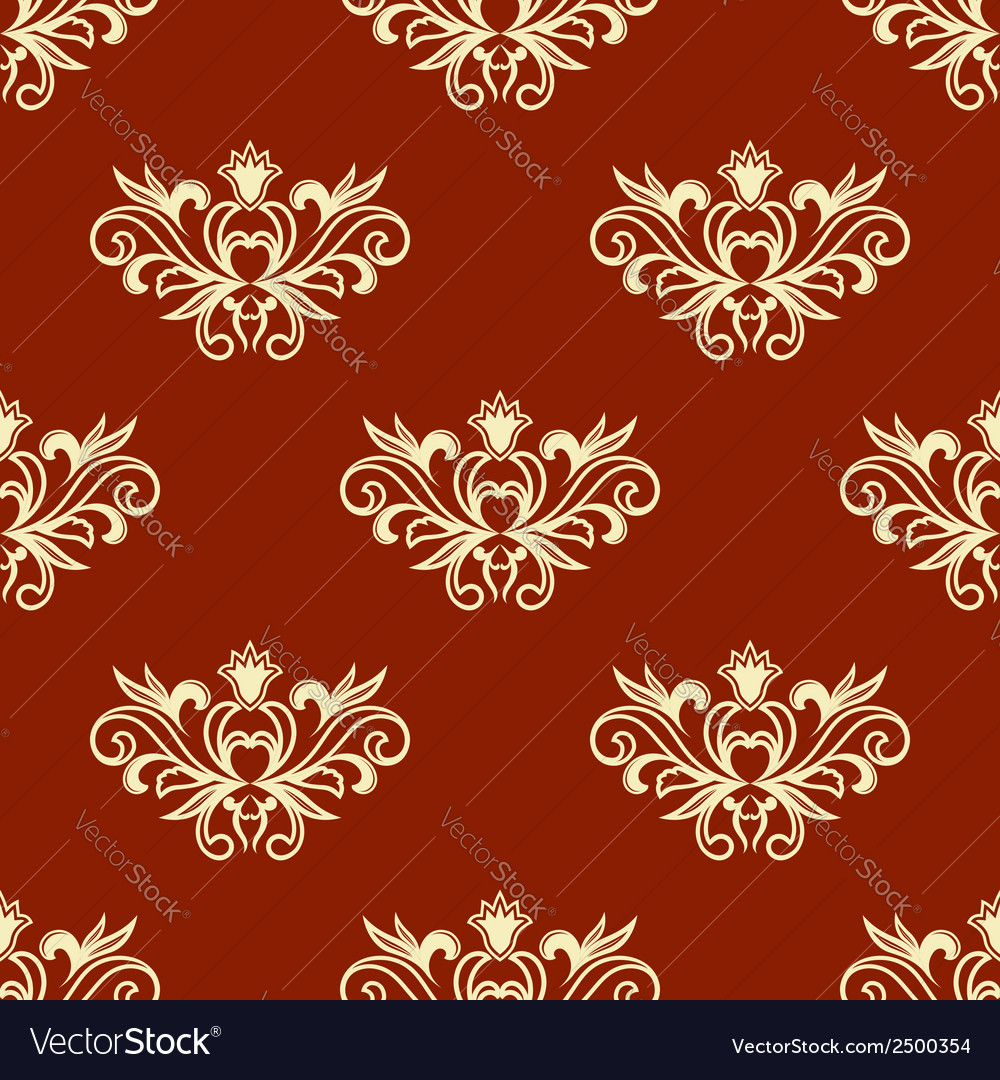 Yellow floral seamless pattern with red background vector | Price: 1 Credit (USD $1)