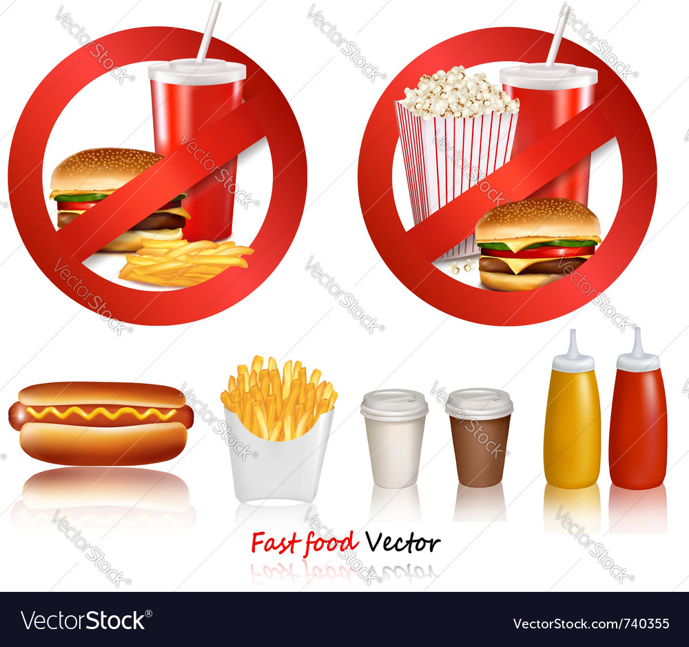 Ast food danger labels vector | Price: 5 Credit (USD $5)