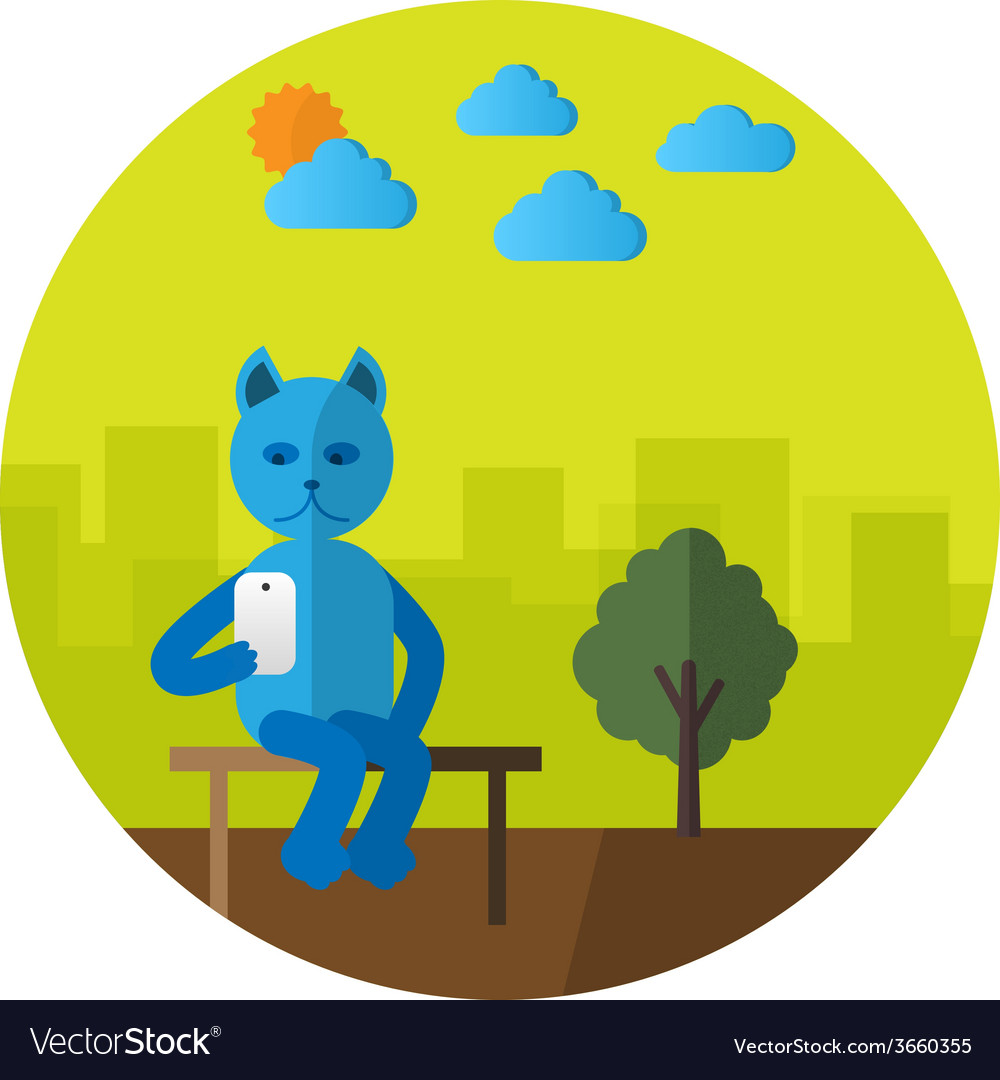 Cat with mobile phone vector | Price: 1 Credit (USD $1)