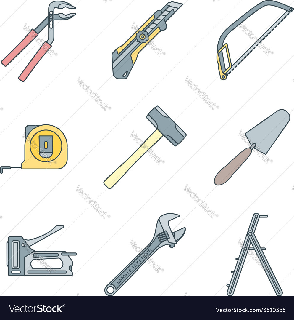 Color outline house remodel tools icons vector | Price: 1 Credit (USD $1)