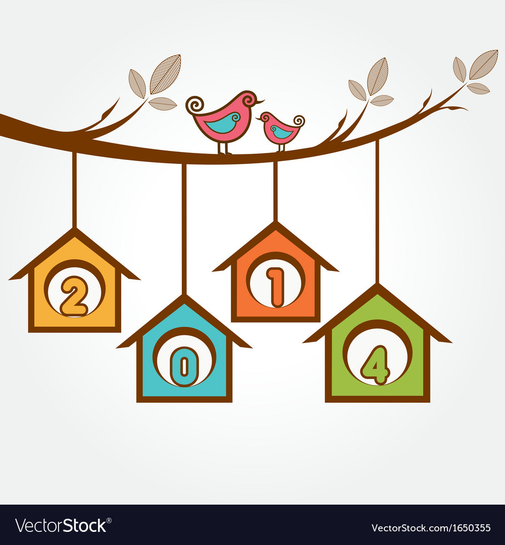Creative new year2014 with birds sit on branch vector | Price: 1 Credit (USD $1)