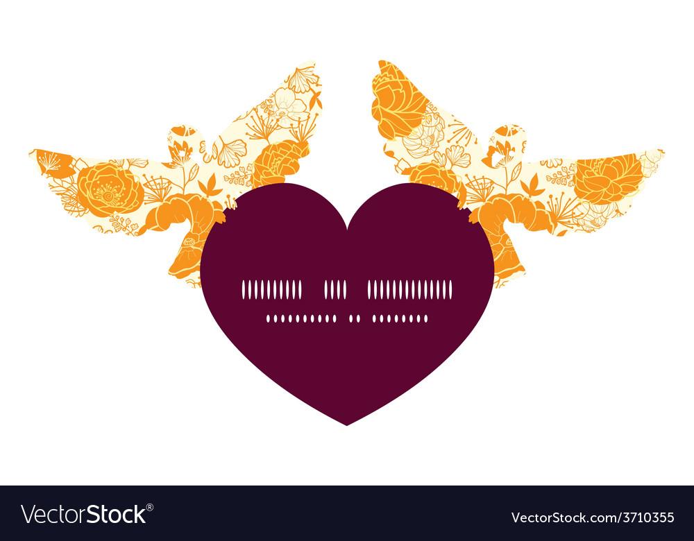 Golden art flowers birds holding heart vector | Price: 1 Credit (USD $1)