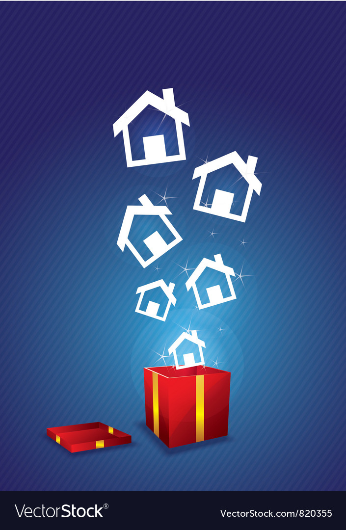 House floating from gift box vector | Price: 1 Credit (USD $1)