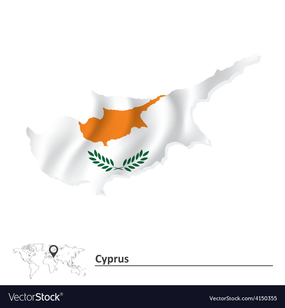 Map of cyprus with flag vector | Price: 1 Credit (USD $1)