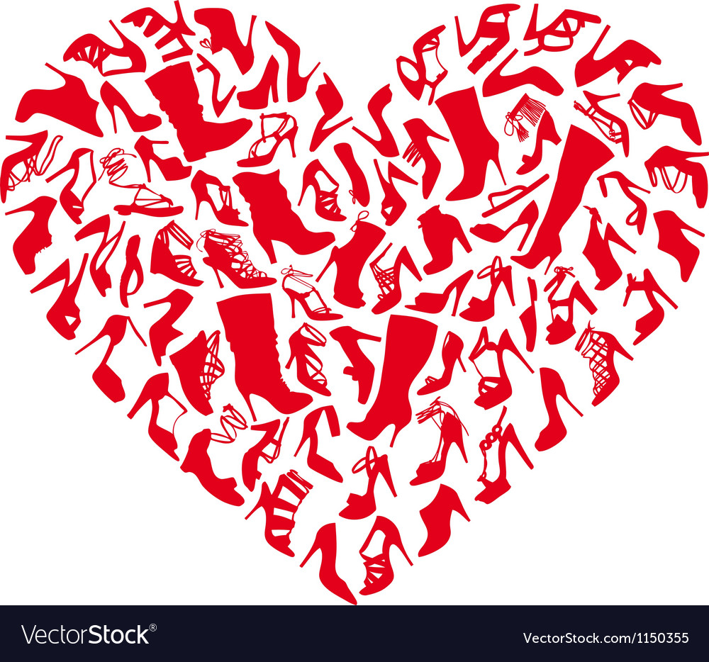 Red shoe heart vector | Price: 1 Credit (USD $1)