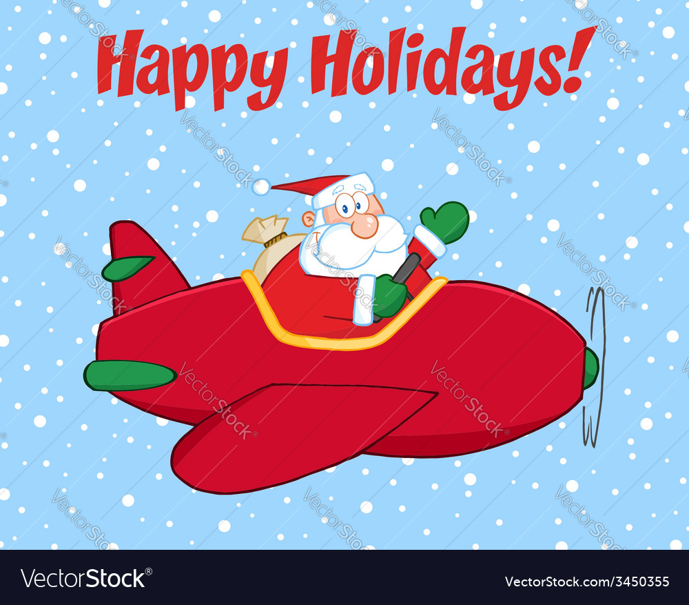 Santa flying plane vector | Price: 1 Credit (USD $1)