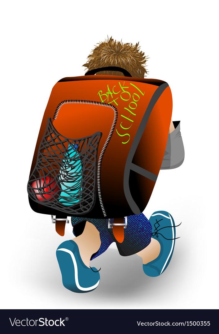 Schoolboy with his satchel vector | Price: 1 Credit (USD $1)