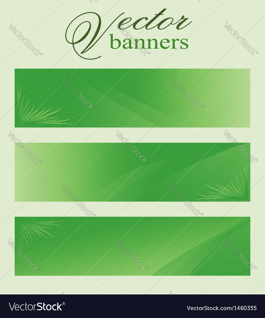Set of green banners headers eco bio vector | Price: 1 Credit (USD $1)