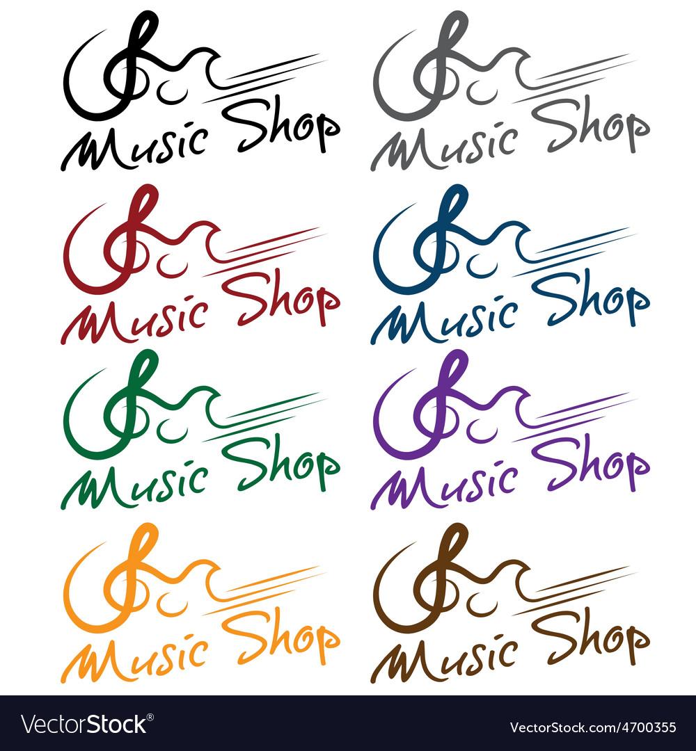 Set of music shop emblems vector   Price: 1 Credit (USD $1)