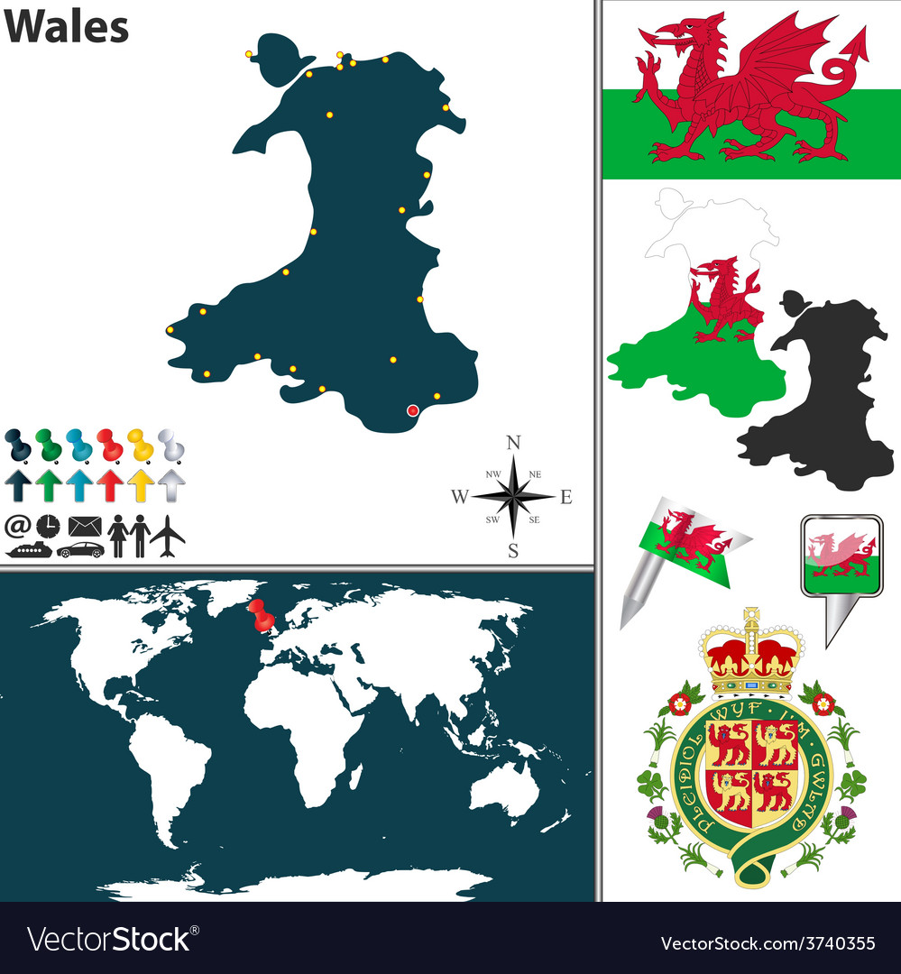 Wales map world vector | Price: 1 Credit (USD $1)
