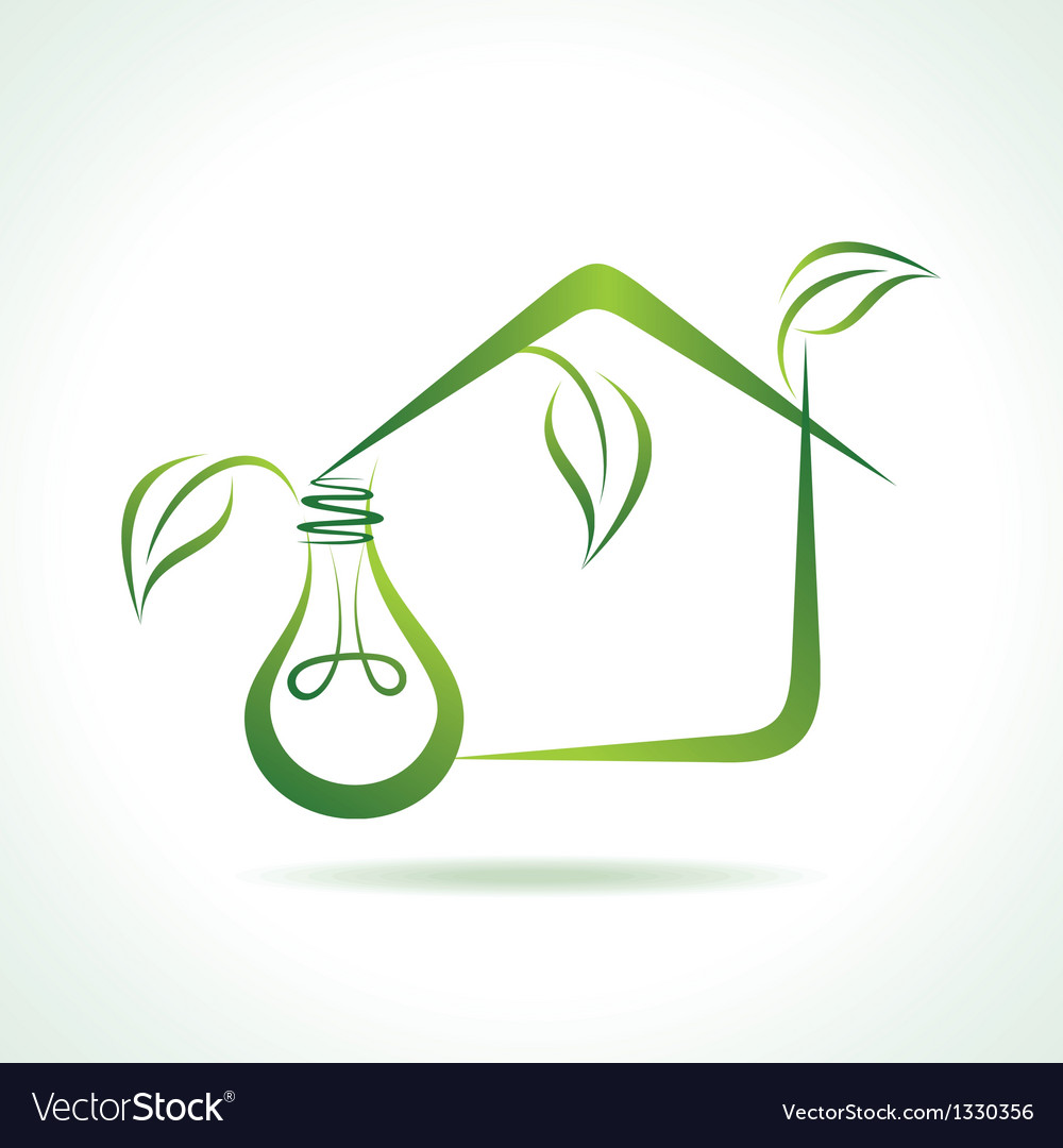 Abstract eco-home with bulb vector   Price: 1 Credit (USD $1)