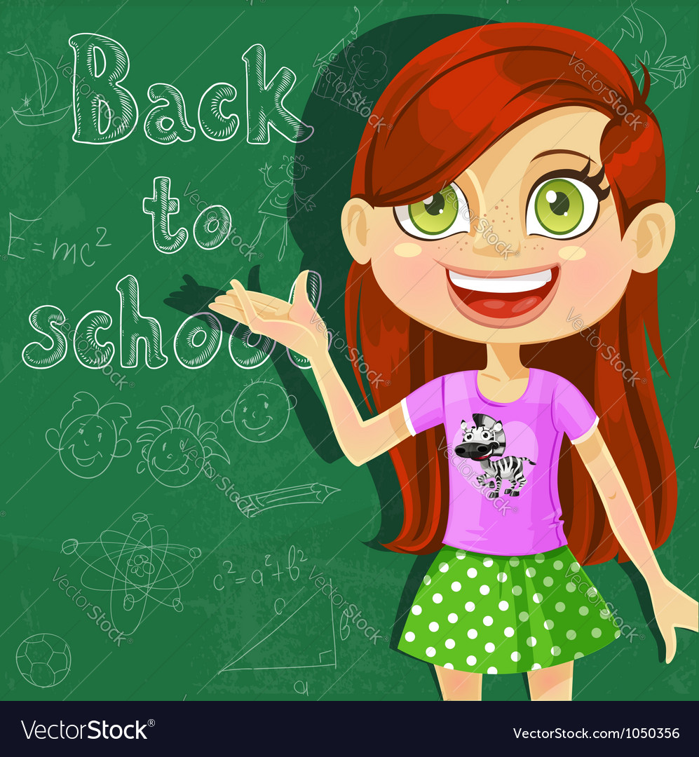 Banner back to school with cute little girl vector | Price: 3 Credit (USD $3)