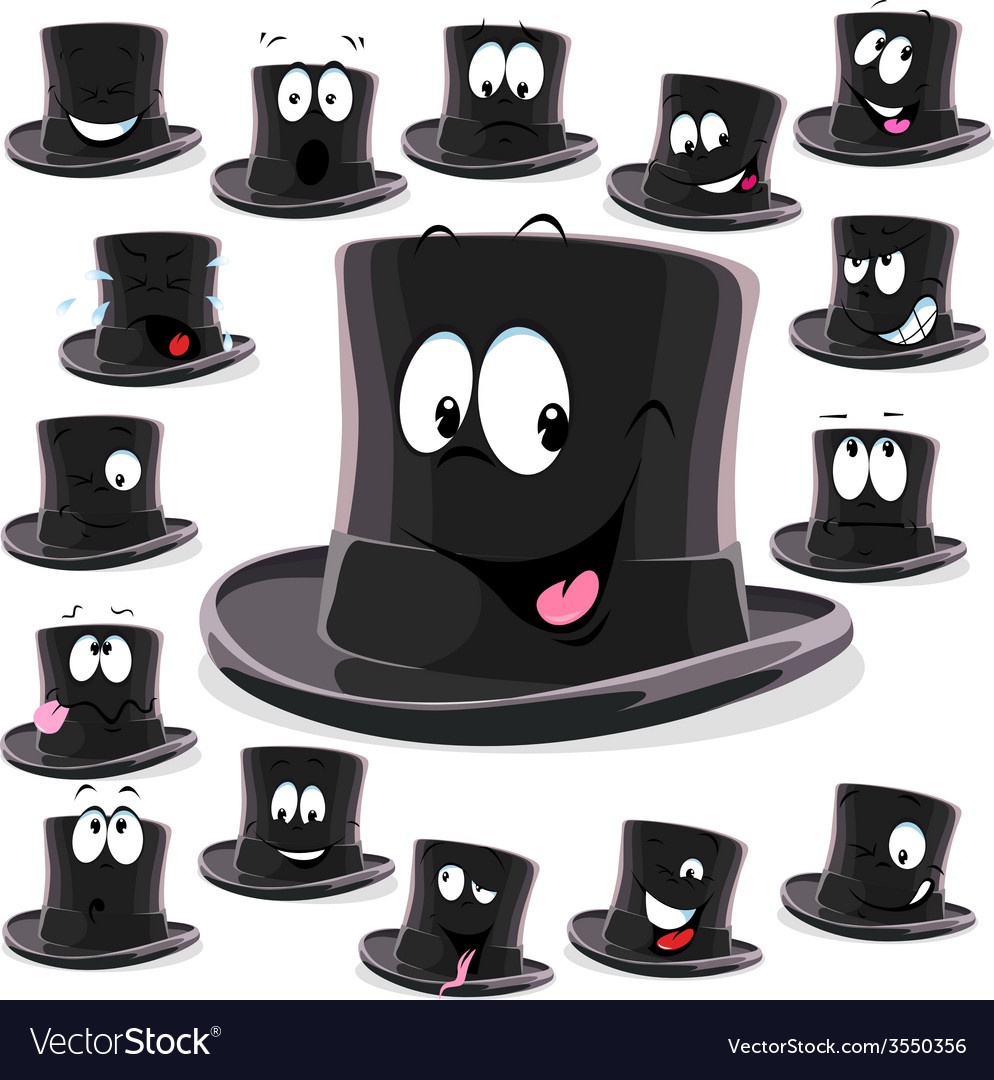 Black top hat cartoon isolated on white background vector | Price: 1 Credit (USD $1)